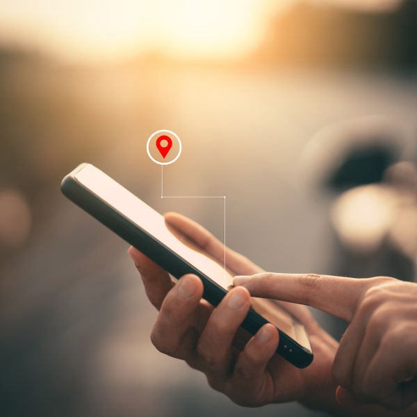 Mobile phone displaying a map search